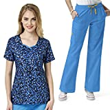 Four-Stretch Women's Double V-Neck PRINT Scrub Top & Sporty Cargo Pant Set+FREE GIFT