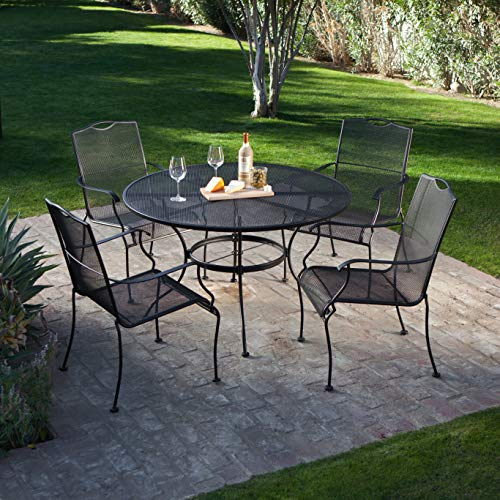 (Patio Dining Set. 5 Piece Contemporary Outdoor Furniture Kit Of Wrought Iron In Black. Outside, Round Table & Chairs For Porch, Lawn, Pool, Garden, Balcony Diner, Conversation, Chat, Seating 4)