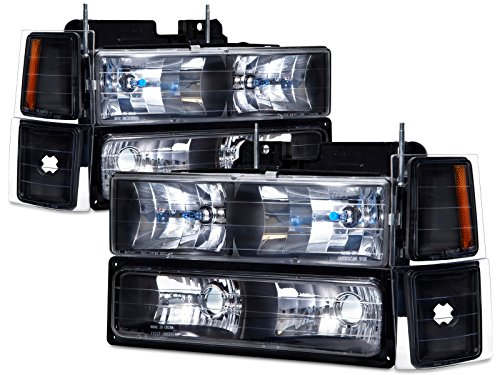 Headlights Depot Replacement for Chevrolet Chvey C/K Trucks/Suburban/Tahoe 8-Piece Black Headlights Set w/Xenon Headlights Bulbs (Truck C/k Headlight)