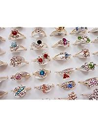 Fashion Wholesale Lots 100pcs Colorful Rhinestone Ring for Women Girl Gift