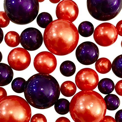 Floating Fall/Halloween/Thanksgiving Orange & Plum Pearls - Jumbo/Assorted Sizes for Vase Decorations and Table Scatter + Includes Transparent Water Gels]()