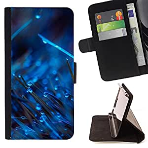 BullDog Case - FOR/Apple Iphone 5 / 5S / - / BLUE DROPS ON GRASS /- Monedero de cuero de la PU Llevar cubierta de la caja con el ID Credit Card Slots Flip funda de cuer