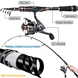 PLUSINNO Fishing Rod and Reel Combos - Toray 24-Ton Carbon Matrix Telescopic Fishing Rod Pole - 12 +1 Shielded Bearings Stainless Steel BB Spinning Reel (Fishing Rod+Reel(No Lures&Line), 2.4M