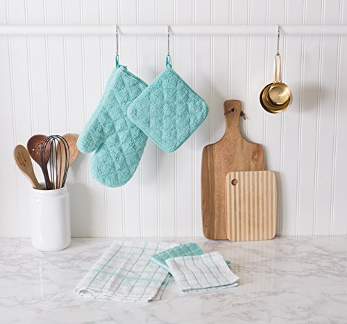 DII  100% Cotton, Machine Washable, Everyday Kitchen Basic  Terry Ovenmitt Set of 2, Aqua by DII (Image #3)