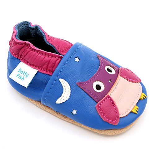Dotty Fish Soft Leather Baby Shoes with Non Slip Suede Soles. Toddler Shoes. Cornflower Blue and Pink Shoe with Owl Design for Girls. 12-18 Months