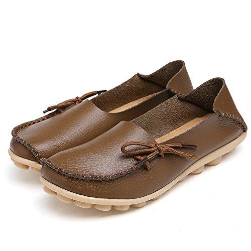 FCKEE Damen Leder Loafers Schuhe Slip-On Schuh Krankenschwester Schuhe Casual Mokassin Driving Schuhe Flache Hausschuhe Khaki