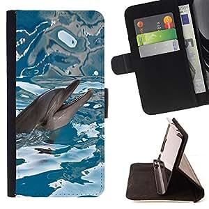 - Happy Dolphin Water Sea Blue Reflection - - Prima caja de la PU billetera de cuero con ranuras para tarjetas, efectivo desmontable correa para l Funny HouseFOR Sony Xperia m55w Z3 Compact Mini