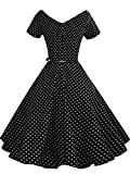 Best Luouse Gowns - Women's Vintage 1950s V-neck Dress With Belt Short Review