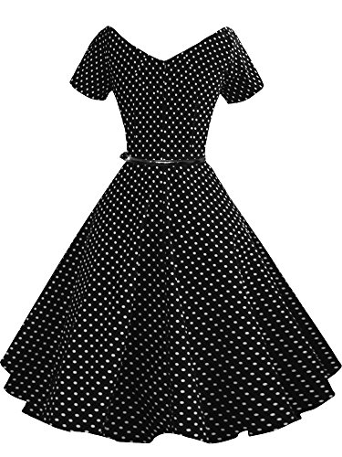 Ball noir Pinup Party Rockabilly Neck 50s A091 Dress 60s LUOUSE Swing 40s Vintage V Gown x1H6qzp