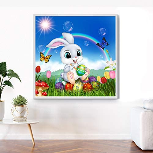 DIY 5D Diamond Painting Kits Easter Bunny Diamond Painting Easter DIY Full Round Drill Diamond Painting Bunny Egg Rhinestone Diamond Painting Craft Decoration for Home Wall Decor, 12 x 12 Inches