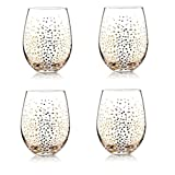 4 Piece Set 19 Oz Stemless Drinking Wine Glasses Classic Gold Dot Reusable Goblets for Wedding Occasions Summer Outdoor Tasting Bar Party Supplies Accessories And Decor