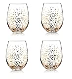 Gift Boutique 20 oz. Stemless Wine Glasses Gold Dots- Set of 4 Christmas ...