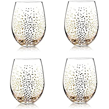 4 holiday gold fizz stemless wine glasses christmas drinking glassware - Christmas Drinking Glasses