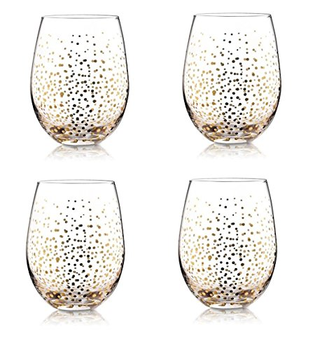4 Holiday Gold Fizz Stemless Wine Glasses Christmas Drinking Glassware (Goblet American Water Tall)