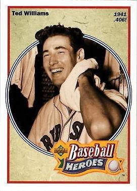 1992 Upper Deck Baseball Heroes 29 Ted Williams Card Bats