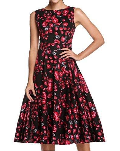 YACUN Mujer Vintage Vestido De Cóctel De Audrey Hepburn Pin Up Swing Vestido De Fiesta Black