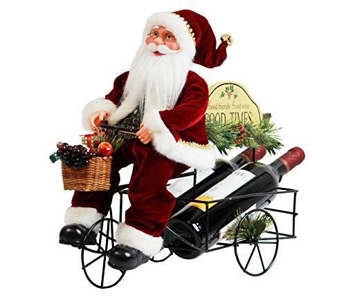 Santa Wine Bottle Holder (Two Bottle Metal Wine Rack Santa Claus 17