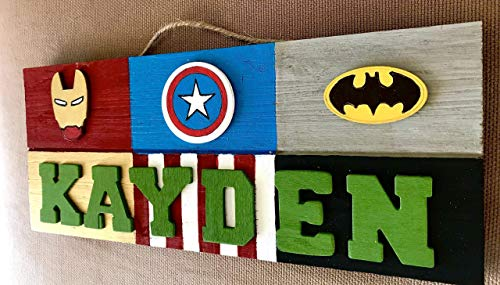 Superhero Theme Personalized 3D Wooden Kids Door Sign; Custom Name Plate -