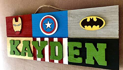 Superhero Theme Personalized 3D Wooden Kids Door Sign; Custom Name -