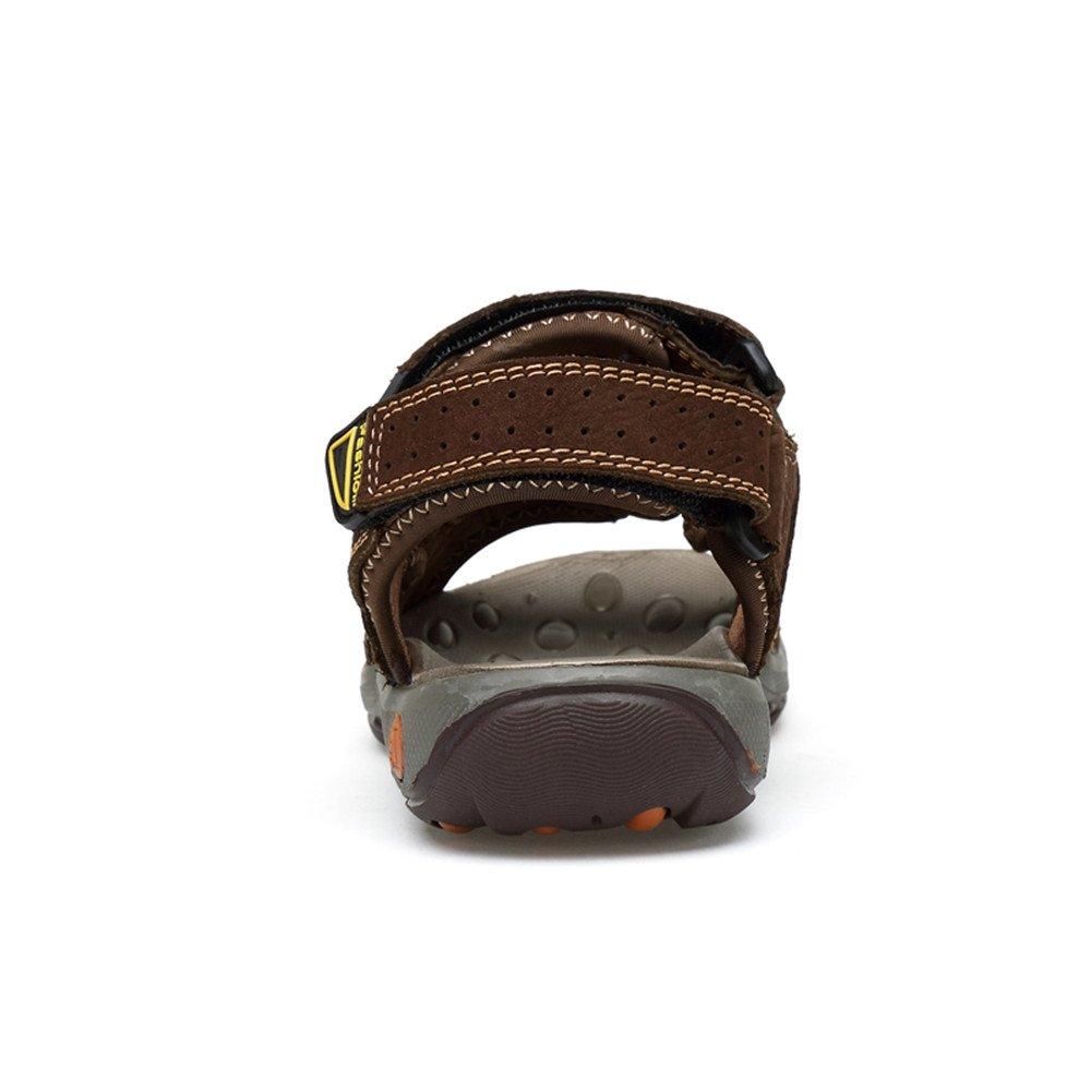 Chaussures de Plein air Sandales de Plage en Cuir Respirant pour Hommes antid/érapantes SUN-BING-LXIE Color : Marron, Taille : 36 EU Douces et Plates /à Trois Boucles et Boucle ferm/ée