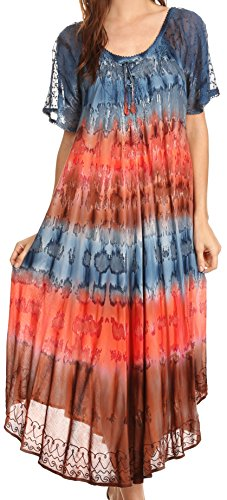 Sakkas 17506 - Sula Tie-Dye Wide Neck Embroidered Boho Sundress Caftan Cover Up - Grey/Coral - OS