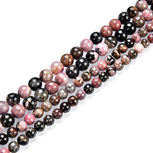 1 Strand Top Quality Natural Rhodonite Gemstone 8mm Round Loose Stone Beads (~ 44-47pcs) for Jewelry Craft Making Healing Crystal Quartz GF24-8