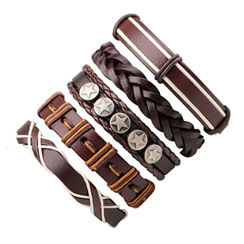 Set The New Ideas of the Combined Root 5 Bracelets Accessories Colored Wax Rope Leather Braided Bracelet