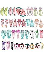 Beauty7 50PCS Clips de Pelo Broche de Metal Horquillas Infantiles Animal Frutas Impreso Pinzas Cabello Accesorios Multicolor para Chica 2-10 Años