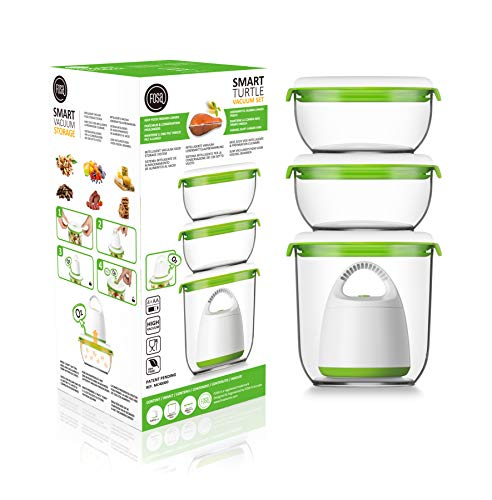 FOSA Vacuum Seal Food Storage System Reusable Container Set with Vacuum and 3 Reusable containers (Best Food Storage System)