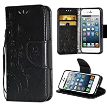 iPhone 5 5S SE Case,i-Dawn Premium Leather Wallet Flip Protective Case with Wristlet Lanyard and Kickstand for Apple iPhone 5/5S/SE Black
