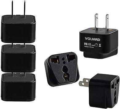 VGUARD [3 Unidades] Universal Adaptador Convertidor de Enchufe Viaje con Planos para UE/Europa, CN/China, EE.UU./ USA/Estados Unidos, Canadá,México, Cuba,Japón,Hong Kong,Taiwán, etc: Amazon.es: Electrónica