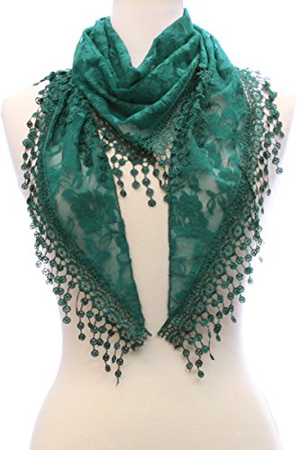 LL Lace Scarf Hunter Green Triangle Fashion Accessory Hanging Flower Tassels](Silk Triangle Head Scarf)