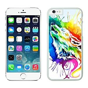 Iphone 6 Case 4.7 Inches, Art Design Rainbow Wolf Cool White TPU Iphone 6 Case Cover