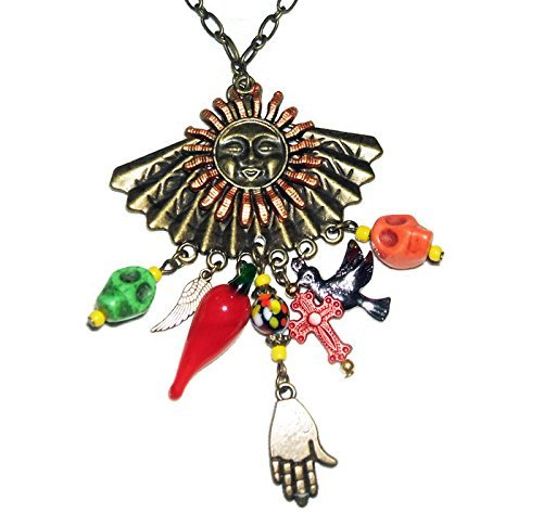 SUGAR SKULL Necklace Loaded Mexico Inspired HAND Chili Pepper BIRD Sugar Skull CROSS Feather FLOWER (Cross Dia Necklace)