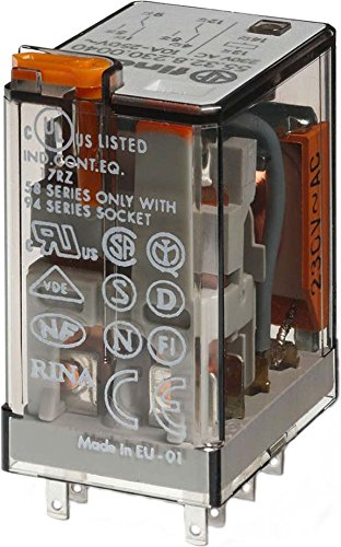 Finder 55.32.8.230.0040 DPDT 10A, 230V AC Coil, AgNi Contact, General Purpose Relay by FINDER (Image #1)