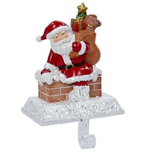 Gift Box Stocking Holder - Kurt Adler Resin Santa with Gift Box Stocking Holder, 6.5-Inch
