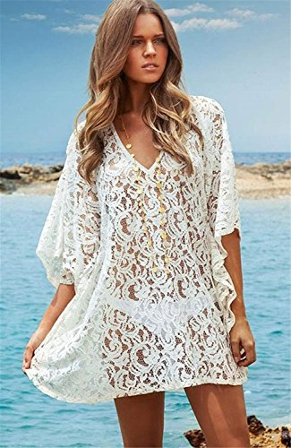 Neck Mini Donne Ricamato up In Floreale Pizzo beach coprire color cover All'Uncinetto Epoca V Minetom One Abito Tq4xYq