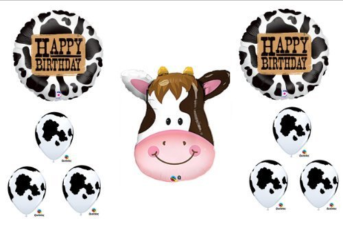 [COW Western Happy Birthday Rodeo Farm Balloon Party Decorations Set Bouquet] (Rodeo Decorations)