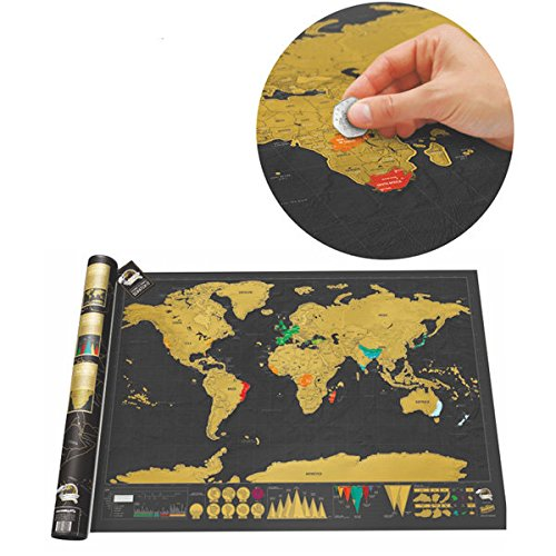 Hiquty Black Luxury Scratch World Map Cylinder Packing Home Decor - Map Fountain Gate