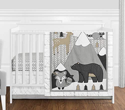 (Sweet Jojo Designs Beige, Grey and White Boho Mountain Animal Gray Woodland Forest Friends Baby Unisex Boy or Girl Nursery Crib Bedding Set Without Bumper - 4 Pieces - Deer Fox Bear)
