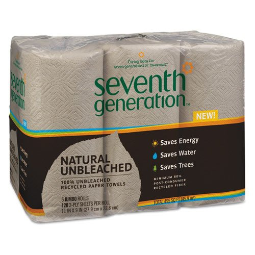 Seventh Generation Natural 100% Unbleached Recycled Paper Towels, 2-Ply, Brown - Includes four packs of six rolls ()
