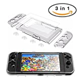 Nintendo Switch Clear Case, Crystal Hard Cases with Anti-Scratch High-definition Tempered Glass Screen Protector and Transparent Joystick Thumb Cap(3 in 1)