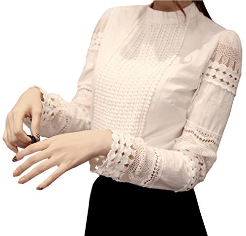 Smile fish Women Hollow Out Back Zipper Lace Long Sleeve Elegant Blouse(US0-US12) (US 14/Tag Size 5XL, White) ()