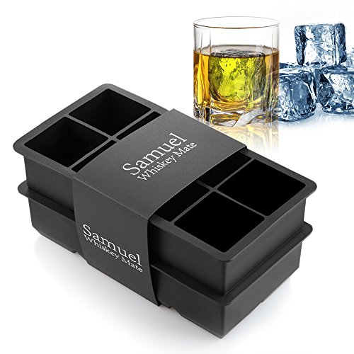 Samuelworld Ice Cube Tray Large Size Silicone Flexible 8 Cavity Ice Maker for Whiskey and Cocktails, Keep Drinks Chilled (2pc/Pack) (black)