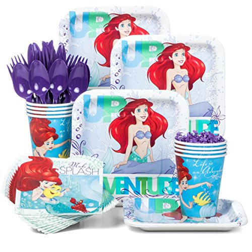 Costume Supercenter BBKIT284 Little Mermaid Standard Birthday Party Tableware Kit Ariel Birthday Party