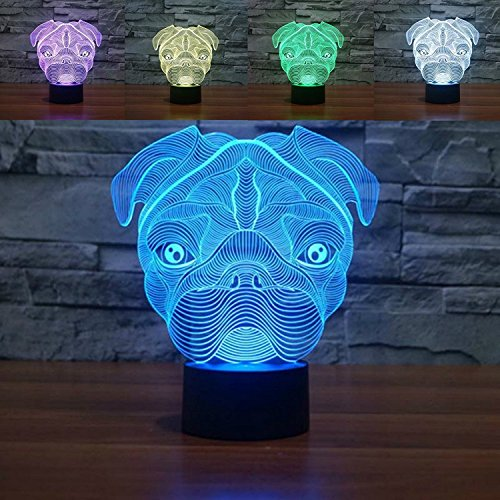 Price comparison product image SUPERNIUDB Cute Pug Dog Night Light Baby Animal Led Lights Table Lamps For Home Decor Promotional Gifts For kids