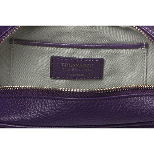 Calf Petit bandoulière à main Violet en 100 Trussardi Femme Cm métallique Clutch avec cuir véritable sac 20x14x7 Dollar x4w560