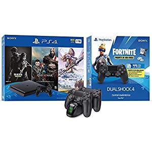2020 Newest Playstation 4 Fortnite Neo Versa Gaming Console Bundle – Included 3 Games (Hozion Zero Dawn, God of War, Last of Us) w/HESVAP Charging Station Dock