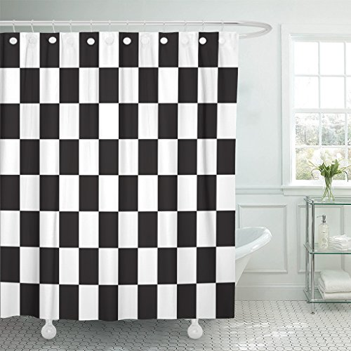 TOMPOP Shower Curtain Checkered Racing Flag Symbolic of End Car Race Black Waterproof Polyester Fabric 60 x 72 Inches Set with - Chess Set Auto