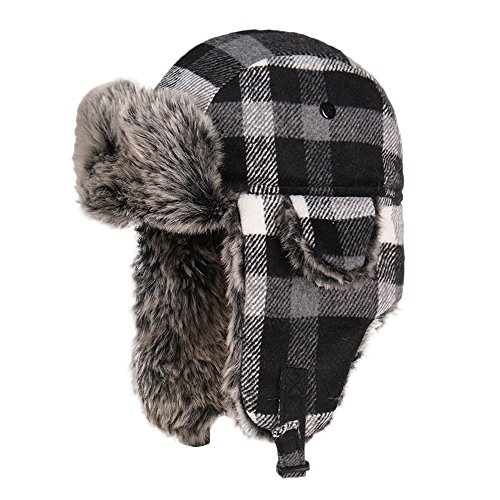 (LIXYIT Plaid Aviator Trapper Ushanka Ski Hat Trooper Winter Russian Cap With Earflaps Gray (Free Size))